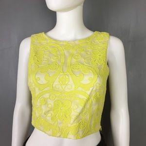 Lucy Paris Bright Yellow Lace Crop Top